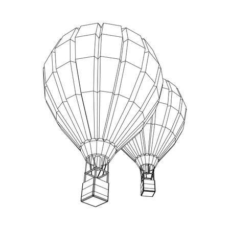 Airballoon design airway travel transport. Air ship with cabin. Wireframe low poly mesh vector illustration. Ilustração