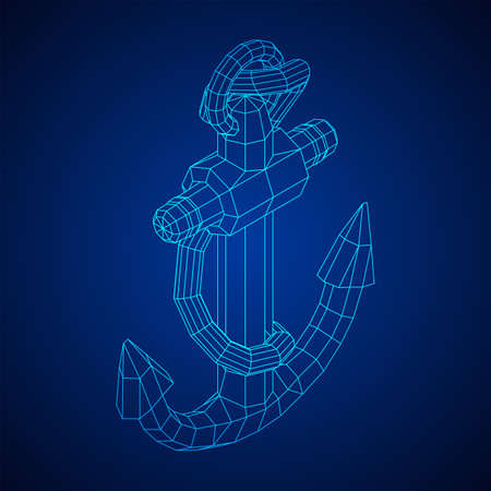 Nautical sea anchor for vessel ship. Wireframe low poly mesh vector illustration Illustration