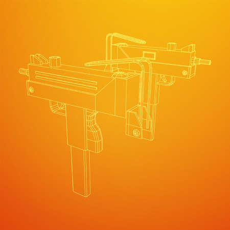 Submachine gun modern firearms pistol. Wireframe low poly mesh vector illustration.