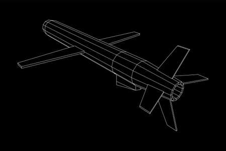 Flying supersonic cruise missile. Wireframe low poly mesh vector illustration Vektorové ilustrace