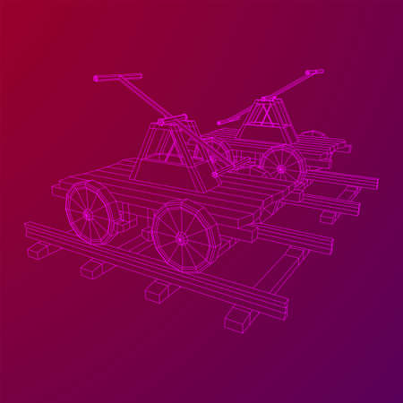 Handcar transportation. Draisine or rail vehicle. Wireframe low poly mesh vector illustration.