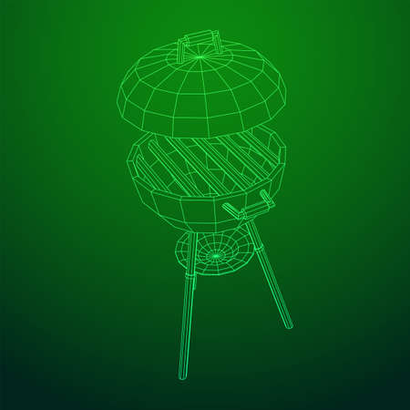 Round barbecue grill. Outdoor bbq party. Wireframe low poly mesh vector illustration