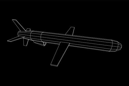 Flying supersonic cruise missile. Wireframe low poly mesh vector illustration