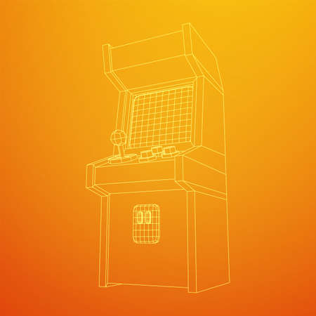 Arcade retro game machine. Wireframe low poly mesh vector illustration. Illustration