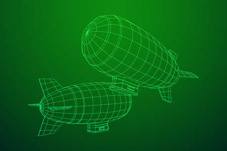 Airship dirigible airway travel transport. Air ship with gondola cabin. Wireframe low poly mesh vector illustration.