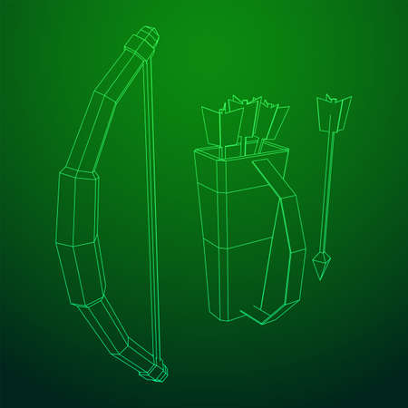 Medieval Bow and arrow archer weapon. Wireframe low poly mesh vector illustration.