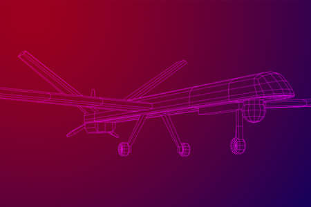 Military drone combat unmanned aerial vehicle. Recon aircraft plane. Wireframe low poly mesh vector illustration.