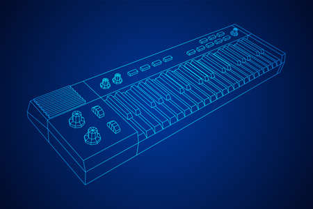 Piano roll analog synthesizer faders buttons knobs. Wireframe low poly mesh vector illustration. Illustration