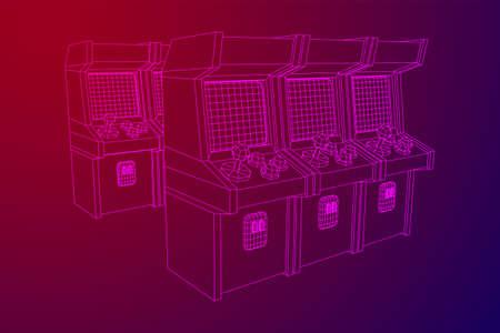 Arcade retro game machine. Wireframe low poly mesh vector illustration. Ilustração