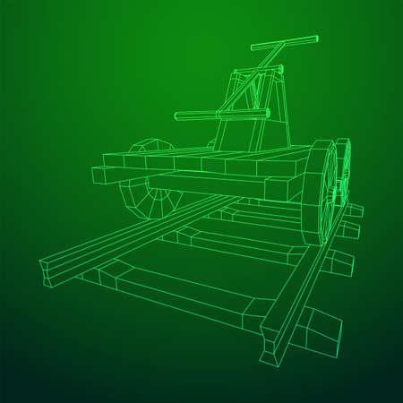 Handcar transportation. Draisine or rail vehicle. Wireframe low poly mesh vector illustration.