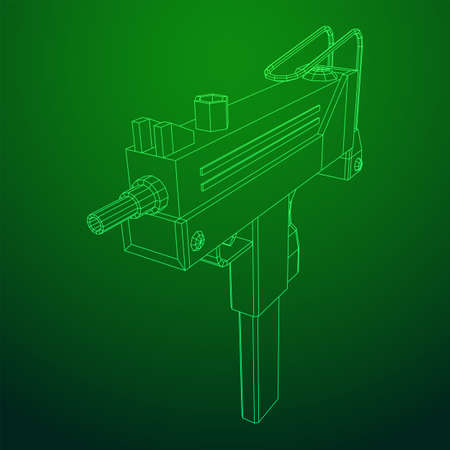 Submachine gun modern firearms pistol. Wireframe low poly mesh vector illustration.