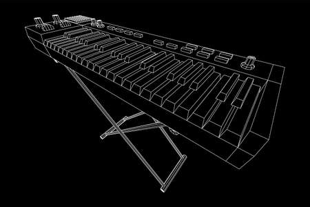 Piano roll analog synthesizer faders buttons knobs. Wireframe low poly mesh vector illustration. Ilustração
