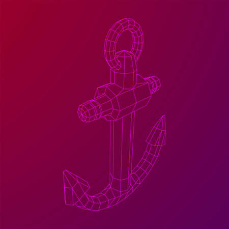 Nautical sea anchor for vessel ship. Wireframe low poly