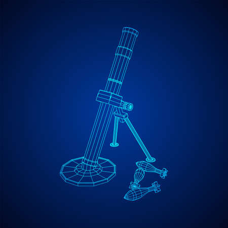 Firearm weapon army mortar and mine. Wireframe low poly