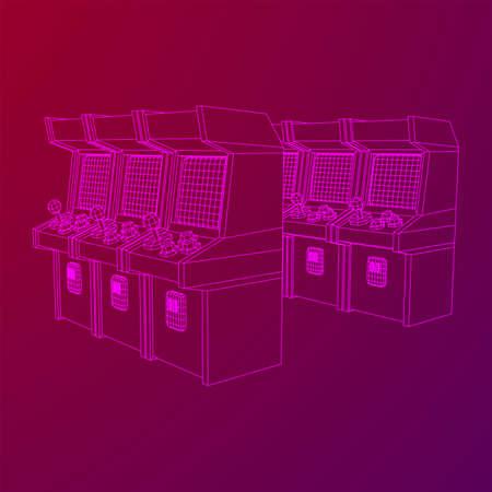 Arcade retro game machine. Wireframe low poly mesh