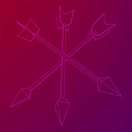 Medieval bow arrow. Wireframe low poly mesh Ilustração