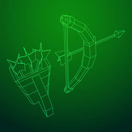 Medieval Bow and arrow archer weapon. Wireframe low poly mesh