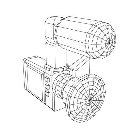 Digital video hand-held camera with rotating screen and external microphone