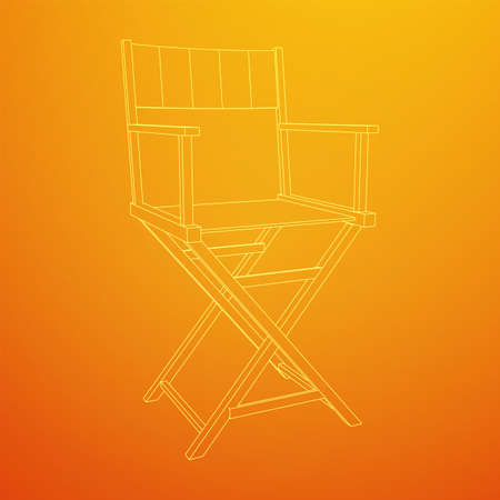 Director movie workplace chair. Wireframe low poly mesh