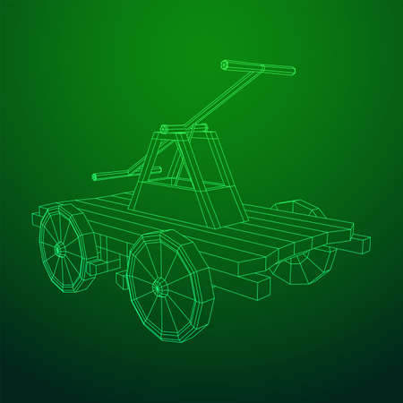 Handcar transportation. Draisine or rail vehicle. Wireframe low poly mesh