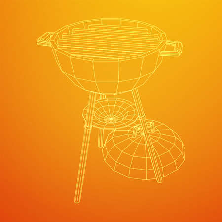 Round barbecue grill. Outdoor bbq party. Wireframe low poly mesh Ilustração