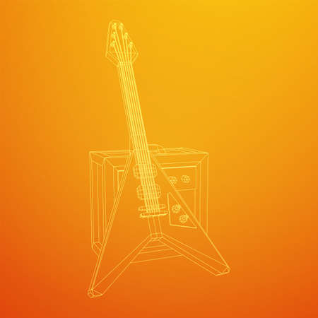 Electric guitar musical instrument. Wireframe low poly mesh