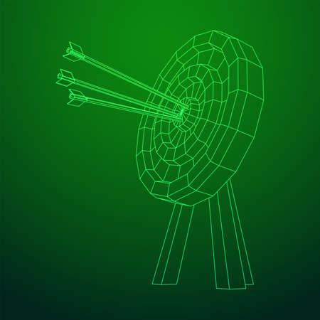 Archery target. Arrows hit round target goal concept