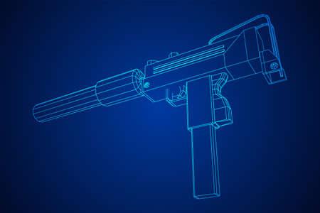 Submachine gun modern firearms pistol with silencer Ilustração