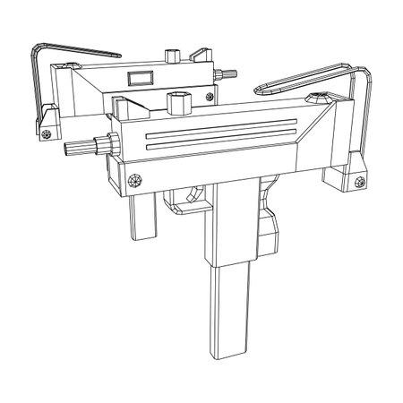 Submachine gun modern firearms pistol. Wireframe low poly mesh Ilustração