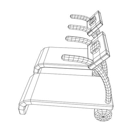 Treadmill machine. Gym and fitness equipment. Wireframe low poly mesh
