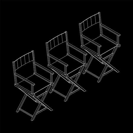 Director movie workplace chair. Wireframe low poly mesh Banque d'images - 167038197