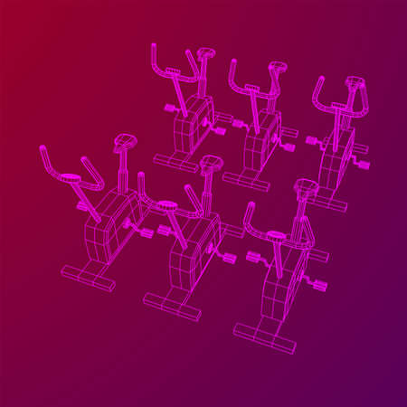 Excercise Bike. Gym equipment. Sport cardio fitness concept. Wireframe low poly mesh vector illustration.