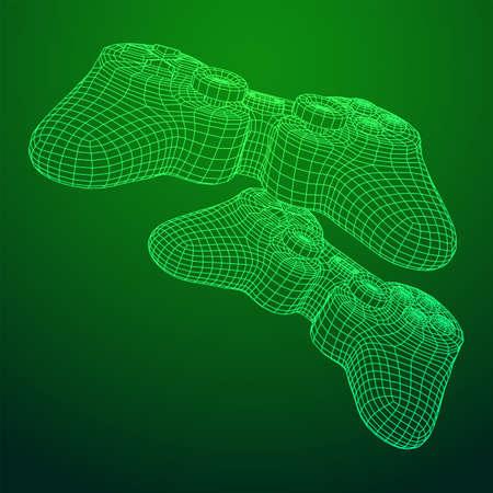 Game controller or gamepad for videogames. Wireframe low poly mesh vector illustration. Ilustração