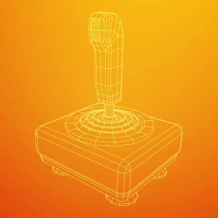 Joystick with buttons. Retro video game controller gamepad. Wireframe low poly mesh vector illustration Ilustração