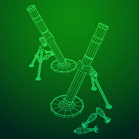 Firearm weapon army mortar and mine. Wireframe low poly mesh vector illustration