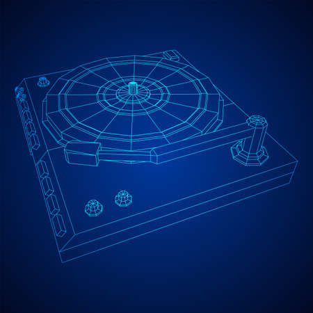 Vinyl turntable audio device. Wireframe low poly mesh vector illustration.