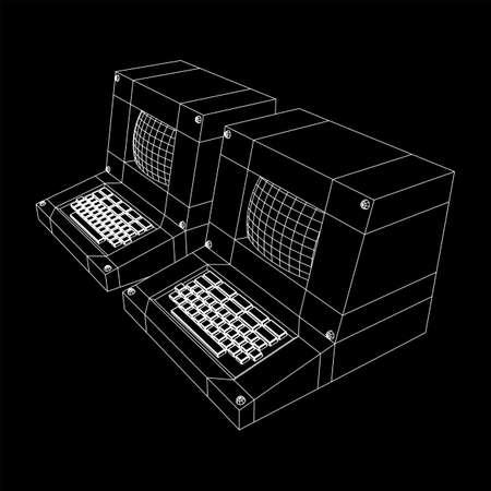 Classic retro personal computer. Programming code concept