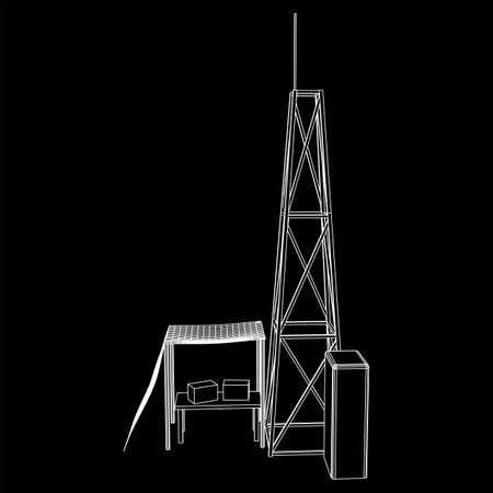 Antenna. Telecommunications transmitter radio tower. Communications concept 向量圖像