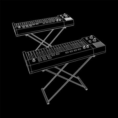 Piano roll analog synthesizer faders buttons knobs. Wireframe low poly mesh Foto de archivo - 168160153