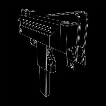 Submachine gun modern firearms pistol. Wireframe low poly mesh Vectores