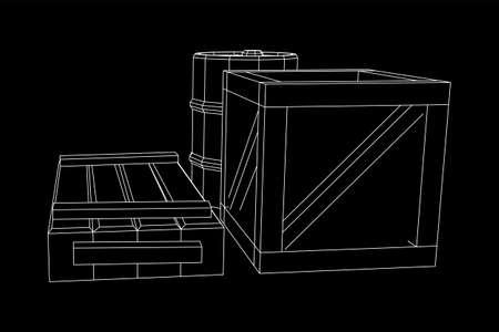 供应货物概念。桩盒和桶。线框低聚网格