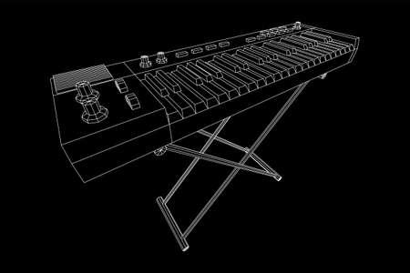 钢琴卷模拟合成器推子按钮旋钮。线框低聚网格