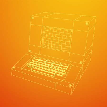 Classic retro perconal computer. Programming code concept