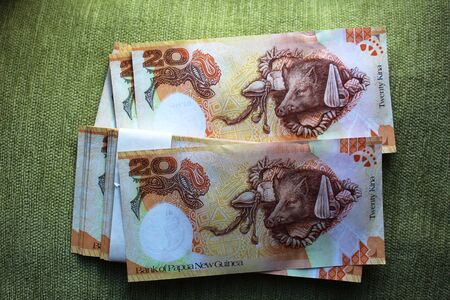 Papua new guinea wad of banknotes