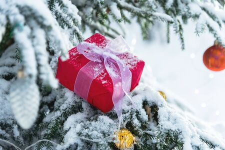 First-person view of a Christmas tree and gifts. Gift for the new year. Фото со стока