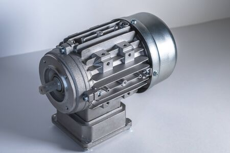Worm motor, electric motors and equipment for bottling lines, industrial equipment for factories. Food industry. Stock Photo