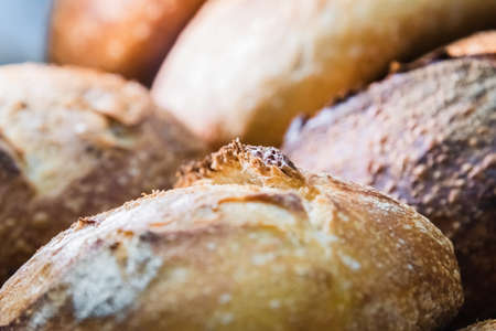 Craft bread on the table at the bakery. The concept of small industries and healthy food