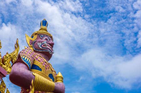 nang: Red Yaksha at Wat Nang Lao in songkhla ,thailand