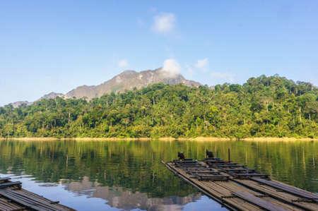 thani: relax at ratchaprapa dam,surat thani,thailand Stock Photo