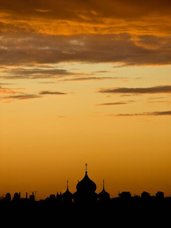 shadowgraph: Sunset in Moscow, Russia, with church shadowgraph